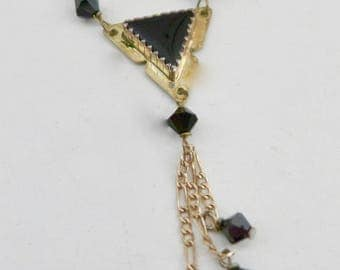 Vintage Sterling Silver Necklace with Onyx Beads / Onyx Triangle
