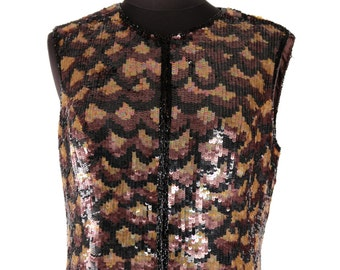 Vintage 1980's Sequin Fitted Vest /  Metallic Eighties Gilet / Snakeskin Reptile  Animal Pattern / Perfect Retro Party Fashion