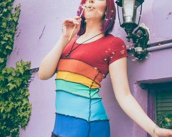 S/M rainbow short dress patchwork upcycled handmade hippie boho colourful stretch jersey 10 12 14 pixie faery faerie overlocked ooak hippy