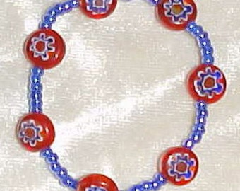 Red, White & Blue Mille Fiori and Blue Pearl 6 Inch  Bracelet FREE SHIPPING
