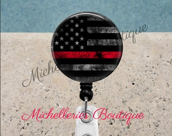 Thin Red Line Badge Reel, Fire Fighter Badge Holder, Fire Badge Reel, Red Lives Matter, Retractable Badge Holder, Personalized Badge,MB337