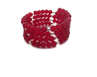Red Wrap Bracelet, Red Sea Glass Bracelet, Red Boho Cuff, Memory Wire Red Bracelet, Red Beach Glass Bracelet, Red and Silver Cuff Bracelet