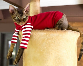 Cat Clothes for Cats. Strange Stripes Black or Red and White. Gray, Black or Red Body. Cat Costume, Simply Sphynx Cat Gift 85