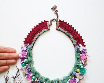 Handmade Jewelry, Floral Collar Necklace, Flowered Necklace, Oya Necklace, Turkish Needle Laces, Collar Necklaces, Burgundy Green Necklace