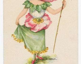 RESERVED FOR DALE - Primrose Girl Birthday Postcard, c. 1910