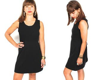 Vintage Black Cotton Waffle Mini Dress - 90s Minimalist Tie Back Babydoll Dress - 90s Grunge Normcore Black Tank Mini Dress