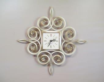 "Vintage Westclox Tan & Gold  Scroll Clock, 1950s Hard Plastic Battery Wall Clock, Hollywood Regency Mid Century Model 46055 Works 22"" x 22"""