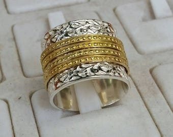 Silver And Gold Spinner Ring ,Wide Sterling Silver Ring ,Wide Spinner Ring ,14K Yellow Gold Spinner Ring ,Wide Wedding Band ,Textured Ring