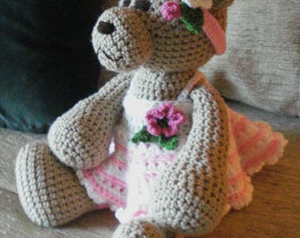 "Crocheted teddy bear stuffed animal doll toy ""Alicia"""