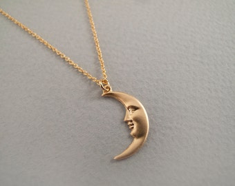 Gold Moon Necklace - Gift for Her