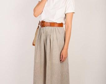 Natural Linen Highwaist Long Boho Skirt, Oatmeal and Stripes Mid Length Eco Skirt, M