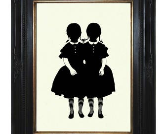Silhouette Conjoined Twins Girls Halloween Gothic Victorian Steampunk Art Print Siamese Twins Wednesday Addams