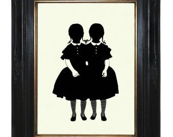 Silhouette Conjoined Twins Art Print Girls Halloween Gothic Victorian Steampunk Art Print Siamese Twins Wednesday Addams