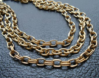 80s, 90s vintage necklace - gold chain necklace multistrand - 80s/90s Open Door necklace