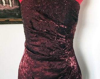 1990's Dark Red Crunch Silk Beaded Evening Gown / Prom Dress