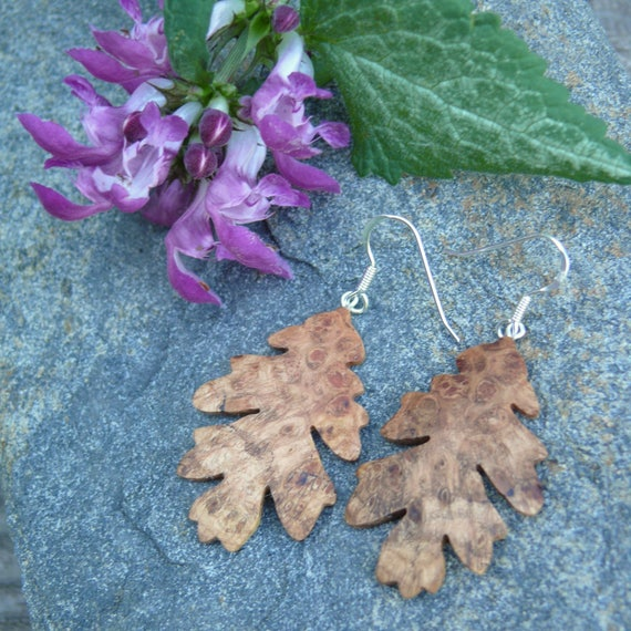 Oak Leaf Earrings, Sterling Silver Dangle Leaf Earrings, Wood earrings, Boho earrings, Earthy Earrings, Oak leaf jewelry, Gift for her