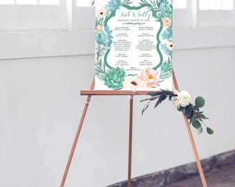 Floral Wedding Program Sign - Modern Teal and Blush Welcome Sign with Wedding Party