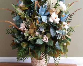 Large Silk Floral Arrangement Traditional Transitional Elegant Decor Cream Aqua Teal Flowers Greenery in Textured Ceramic Vase