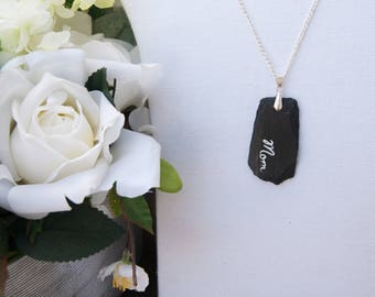 Mother's Day Slate Pendant Necklace - Hand painted -  Mom Gift - Reclaimed Slate Necklace - Black Slate