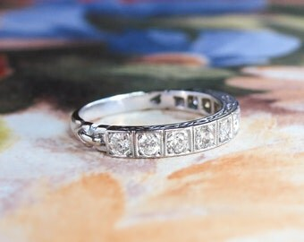 Vintage Diamond Wedding Band 1940's Retro Wedding Ring Ten Diamond Wedding Stacking Anniversary Band 18k White Gold