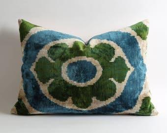 ikat velvet pillow, ikat pillow, velvet pillow, blue green pillow, ikat lumbar pillow, designer pillows, green ikat pillow, pillow ikat