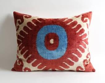 16x20 inch Uzbek handwoven hand dyed silk velvet ikat pillow cover
