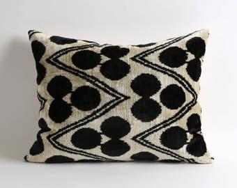 Black White Pillows Covers, handwoven hand dyed silk velvet ikat pillow cover, Couch Pillow, Gift, Ikat Pillow