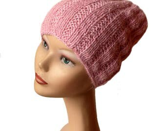 Slouchy Knit Hat - Beanie Hat - Slouchy Ribbed Beanie - Slouchy Hat - Knitted Hat - Powder Pink Beanie - Women Hat - Spring Knit Hat