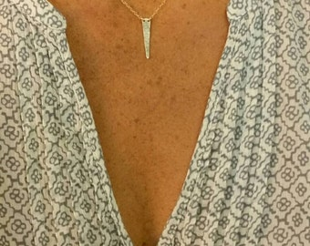 Gold Hammered Triangle Necklace, Gold Fill, Hammered Necklace, Tiny Gold Necklace, Gold Necklace