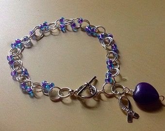 Purple Bead Chain Link Bracelet-Awareness-Maille-Friendship-Cancer-Purple Heart & Hope Ribbon Charm Jump Rings- Alzheimer's-Epilepsy-Lupus-