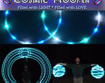 """SALE! Ready-to-Launch! 5/8"""" Polypro Mini LED Hoops, 20"""" diameter - Galactic Superwave: blue/green, purple/white/green, mint"""