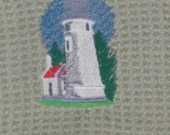Umpqua River Light House - Microfiber Waffle Weave Hand Towel - Green Mist