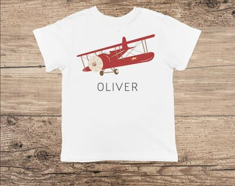 Airplane Shirt, Personalized Toddler Shirt or Bodysuit in Red