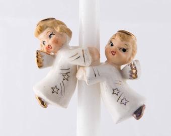 Vintage Angel Candle Huggers, 1960's Christmas Angel Decor