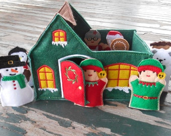 Christmas at the North Pole , Santa's Workshop , Finger Puppet Felt Play Set