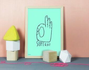 Superbe | Linolschnitt, Linoldruck, Linoleum, Grafik, Druck, Print, Kunstdruck, Hand, Handzeichen, super, großartig, toll, mega, mint, A4