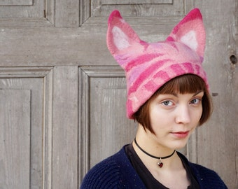 Pink Pussyhat project, feminist hat, Pussy cat hat with ears, Women's Rights Hat, feminist March hat, felted wool hat, gift for cat lovers