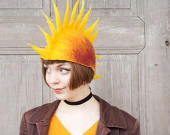 Hand felted designer hat, sunny yellow felt hat, festival outfit, unique wearable art, punk rocker fashion, funky mod hat, pure wool hat