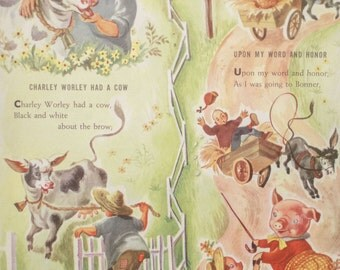 Vintage Mother Goose Nursery Rhyme Nursery Wall Decor / wall art, baby room decor, baby print, wall print for nursery, kids room decor