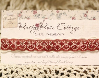 Cranberry and Cream Vintage Inspired Lace Headband (Newborn) - Photo Prop - Christmas - Valentines