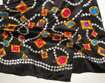 """1980s Jewelry Print Silk Scarf / Luxe Luxury Statement / Bow Rectangle / Vintage /  52"""" x 9.75"""""""