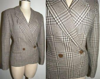 1990s 90s Giorgio Armani Blazer / Women's Jacket / Tweed Houndstooth / made ITALY / Career / Vintage size 44/10