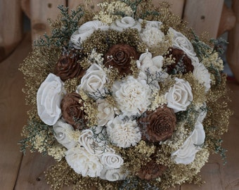 Woodland Bouquet Winter Bouquet Fall Bouquet Burlap Bouquet Rustic Bouquet Wedding Bouquet Sola Bouquet Winter Bouquet Fall Bouquet Sola