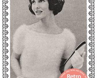 1950s Angora Blouse Knitting Pattern - PDF  Instant Download