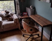 Reclaimed Wood and Steel Computer Desk/Console Table