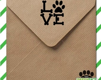 Dog love stamp - L O V E paw print - rubber stamp or self inking, perfect for scrapbooking, greetings cards DIY crafts - gift idea!