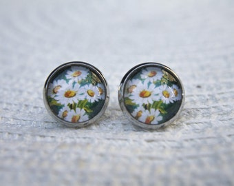 Daisy Earrings, Daisy Studs, Flower Earrings, Floral Earrings, Flower Studs, Floral Studs, White Flower, Spring Flower, Spring, Studs, Post
