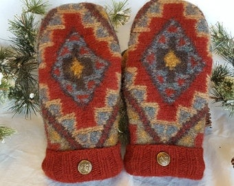 ON SALE!!!! Pendleton recycled wool sweater mittens, felted, fleece lined, geometric design, red, gold, brown and blue, size women's medium