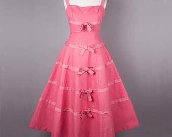1950s rare pink Horrockses vintage party dress