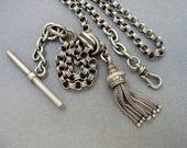 Antique Victorian STERLING Silver WATCH Chain TASSEL Rare Swivel Hook Belcher Links Slide T-Bar Albertina Albert Chain Fob Extender c.1880s